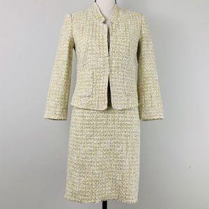 Ann Taylor Tweed Skirt Suit 2 pc Set Frayed Hem